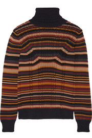Prada Striped cable-knit wool turtleneck sweater