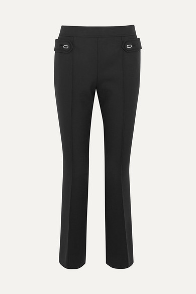 Prada - Wool-blend Flared Pants - Black at NET-A-PORTER