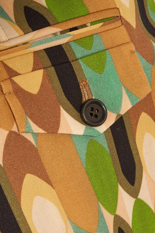 Prada Cropped printed wool-blend twill straight-leg pants