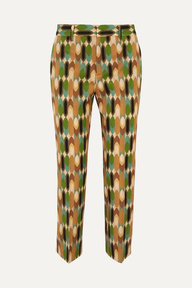 Prada Wools Cropped printed wool-blend twill straight-leg pants