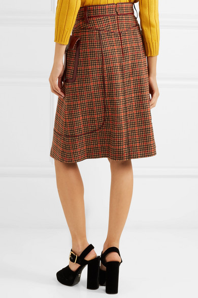 Prada Skirts Leather-trimmed checked wool-blend tweed skirt