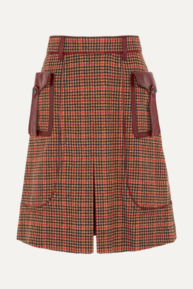 Prada - Leather-trimmed Checked Wool-blend Tweed Skirt - Orange at NET-A-PORTER