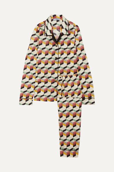 Prada - Printed Silk-twill Pajama Set - Ivory at NET-A-PORTER