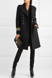 Saint Laurent Caban grosgrain-trimmed wool coat