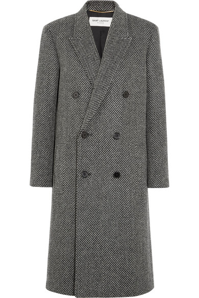 Saint Laurent Chevron Tweed Double-Breasted Coat In Abstract,Black,White