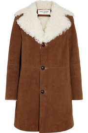Shearling-lined suede coat