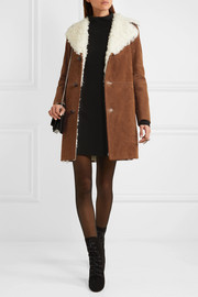 Saint Laurent Shearling-lined suede coat