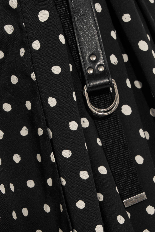 SAINT LAURENT Draped polka-dot crepe de chine mini dress