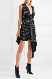 Saint Laurent Draped polka-dot crepe de chine mini dress