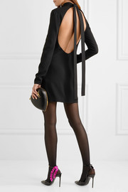 Saint Laurent Open-back crepe turtleneck mini dress