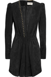 Saint Laurent Studded suede mini dress