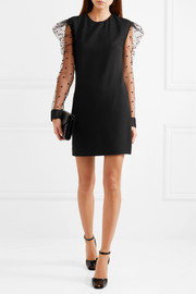Flocked tulle-paneled crepe mini dress