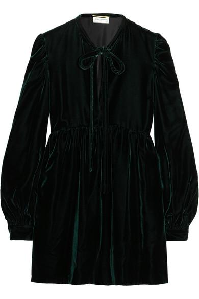 Saint Laurent - Pussy-bow Velvet Mini Dress - Emerald