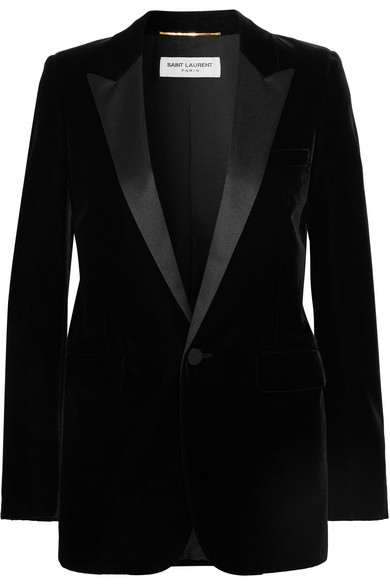 Satin-Trimmed Velvet Tuxedo Blazer, Black