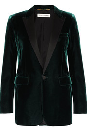 Saint Laurent Satin-trimmed velvet tuxedo blazer