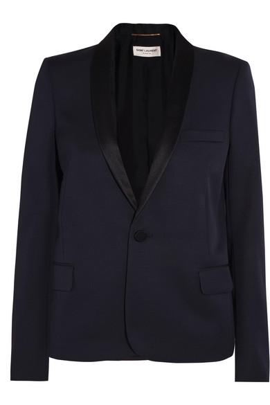 dd9cdc2907f SAINT LAURENT   Satin-trimmed grain de poudre wool tuxedo blazer ...