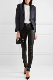 Saint Laurent Satin-trimmed grain de poudre wool tuxedo blazer