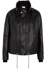 Saint Laurent Shearling-lined textured-leather jacket