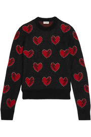 Saint Laurent Jacquard-knit mohair-blend sweater