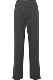 Saint Laurent Belted wool straight-leg pants