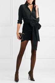 Saint Laurent Asymmetric bow-embellished suede mini skirt