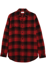 Saint Laurent Plaid brushed-cotton shirt