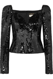 Saint Laurent Sequined crepe top
