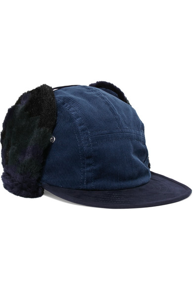 Sacai - Faux Shearling-trimmed Corduroy Hat - Navy