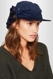 Faux shearling-trimmed corduroy hat