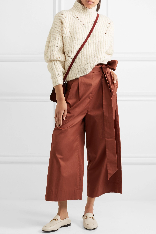 Isabel Marant Farren 罗纹羊毛混纺高领短款毛衣