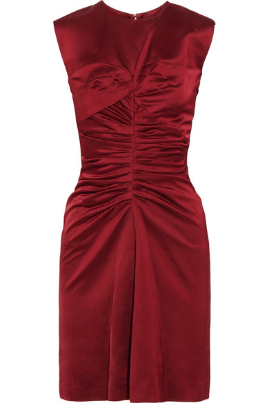 Isabel Marant - Esta Ruched Satin Dress - Merlot