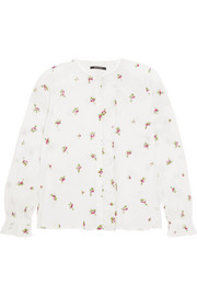 Isabel Marant Uamos ruffle-trimmed embroidered ramie blouse