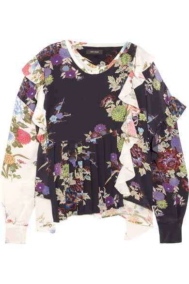 Isabel Marant - Inny Pleated Floral-print Silk Crepe De Chine Wrap Blouse - Black