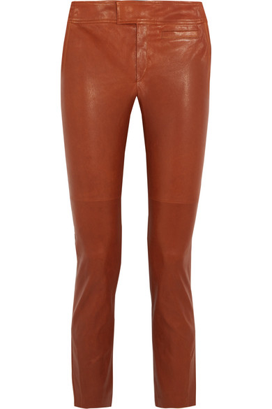 Isabel Marant - Covida Cropped Leather Slim-leg Pants - Brown