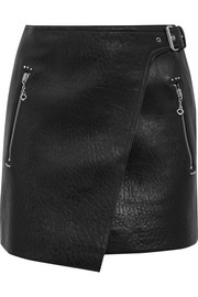 Kakili textured-leather mini wrap skirt