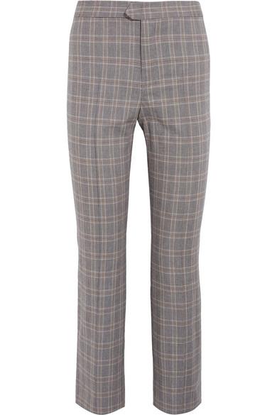 Étoile Isabel Marant - Nerys Cropped Plaid Cotton-blend Flared Pants - Gray