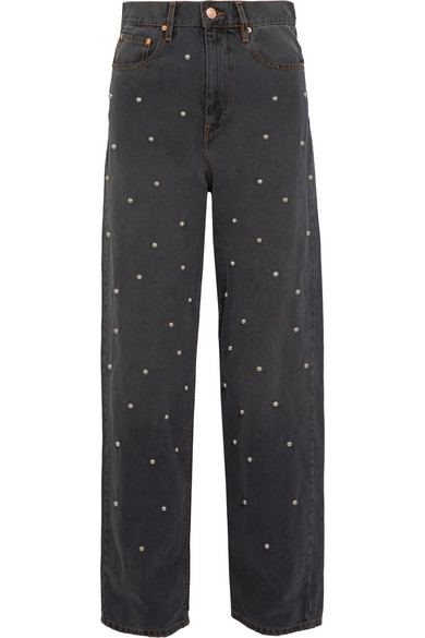Étoile Isabel Marant - Curt Faux Pearl-embellished Low-rise Boyfriend Jeans - Gray