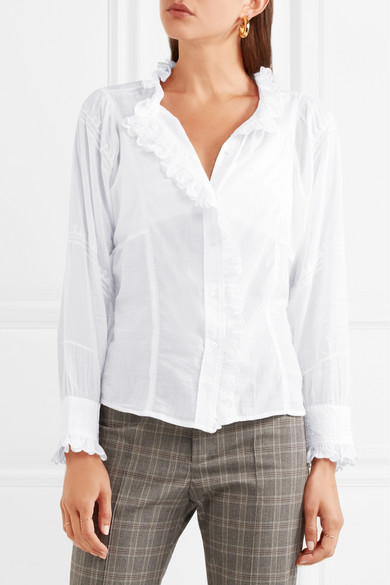 Lauryn Embroidered Cotton Voile Blouse by Isabel Marant Étoile