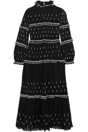 Lyukio ruffled embroidered cotton maxi dress