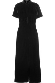 Ruched velvet turtleneck maxi dress