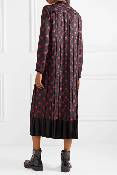Velvet-trimmed Pleated Silk-jacquard Midi Dress - Black Alexander McQueen QEdEr3H6V