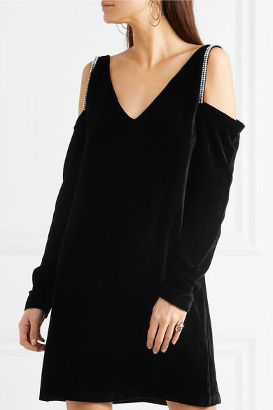 ebbf4c6f602b4 McQ Alexander McQueen | Cold-shoulder embellished velvet mini dress ...