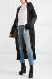 Oversized patchwork ribbed-knit cardigan