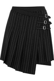 McQ Alexander McQueen Asymmetric pleated pinstriped woven mini skirt