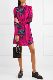 Floral-print crepe de chine mini dress