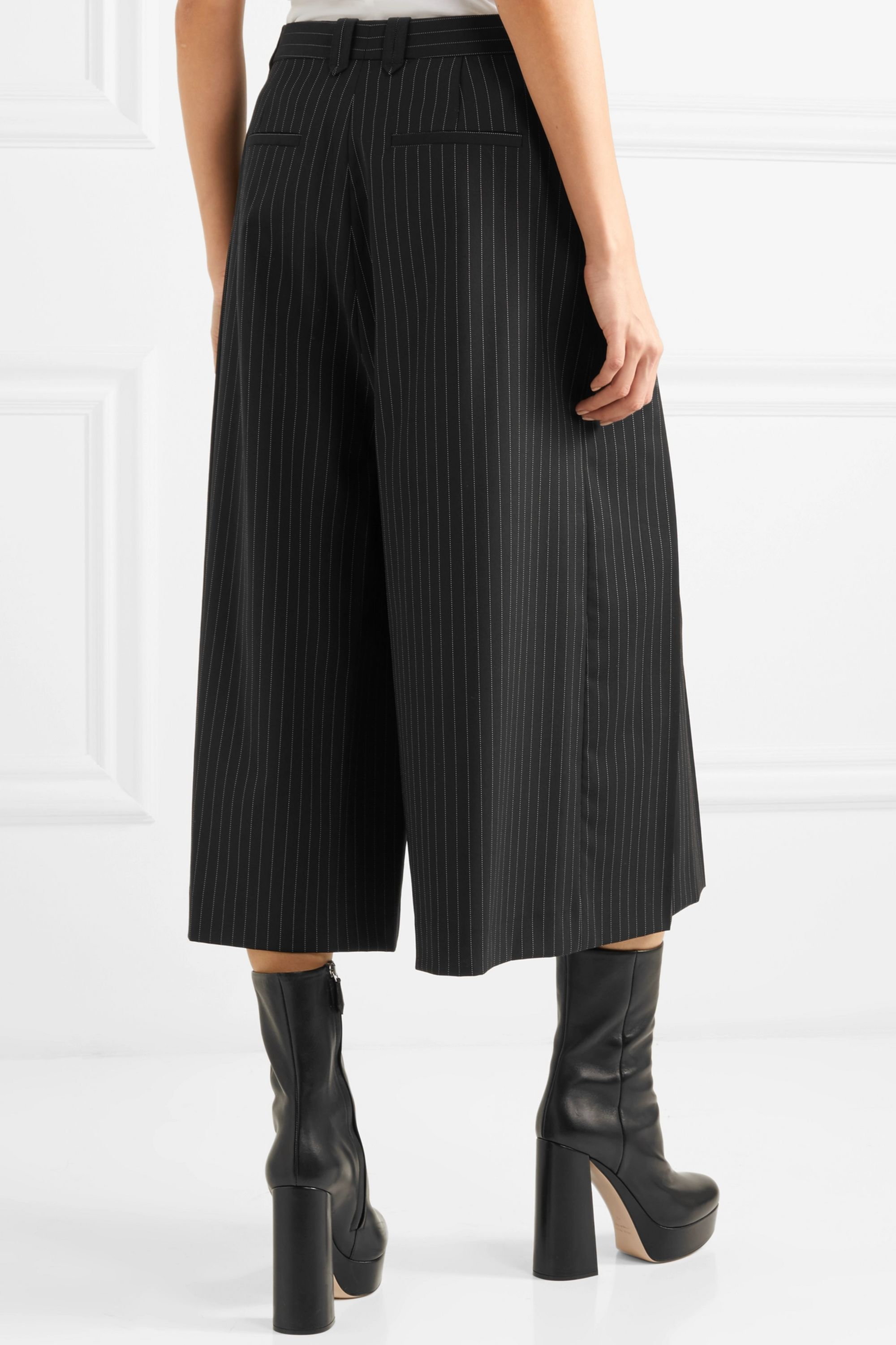 MCQ Cropped pleated pinstriped twill pants