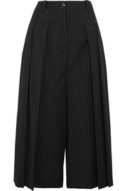 McQ Alexander McQueen Cropped pleated pinstriped twill pants