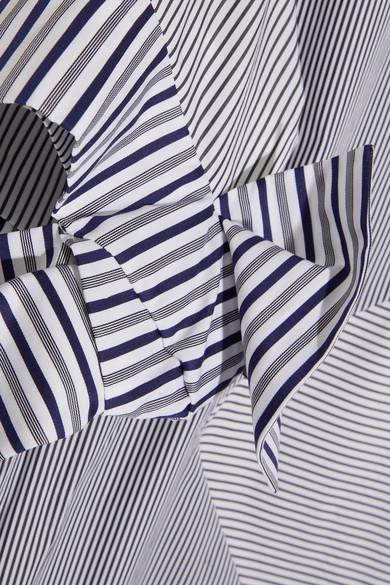 VICTORIA VICTORIA BECKHAM Paneled Striped Cotton-Poplin Mini Dress in Stripes