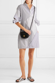 Victoria, Victoria Beckham Paneled striped cotton-poplin mini dress