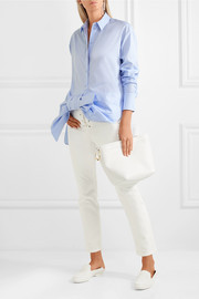Victoria, Victoria Beckham Asymmetric bow-detailed cotton shirt